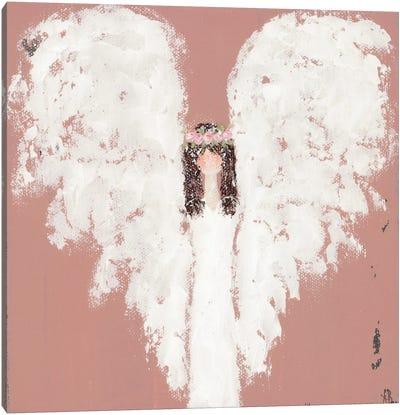 Pink Angel Floral Halo Canvas Art Print
