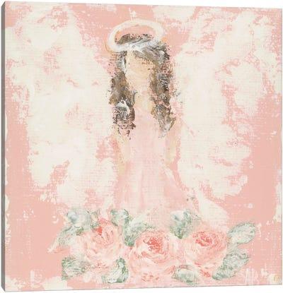 Pink Floral Angel Canvas Art Print