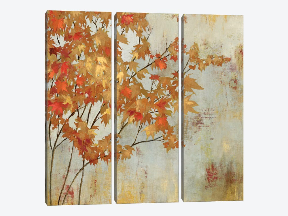 Golden Foliage 3-piece Canvas Art Print