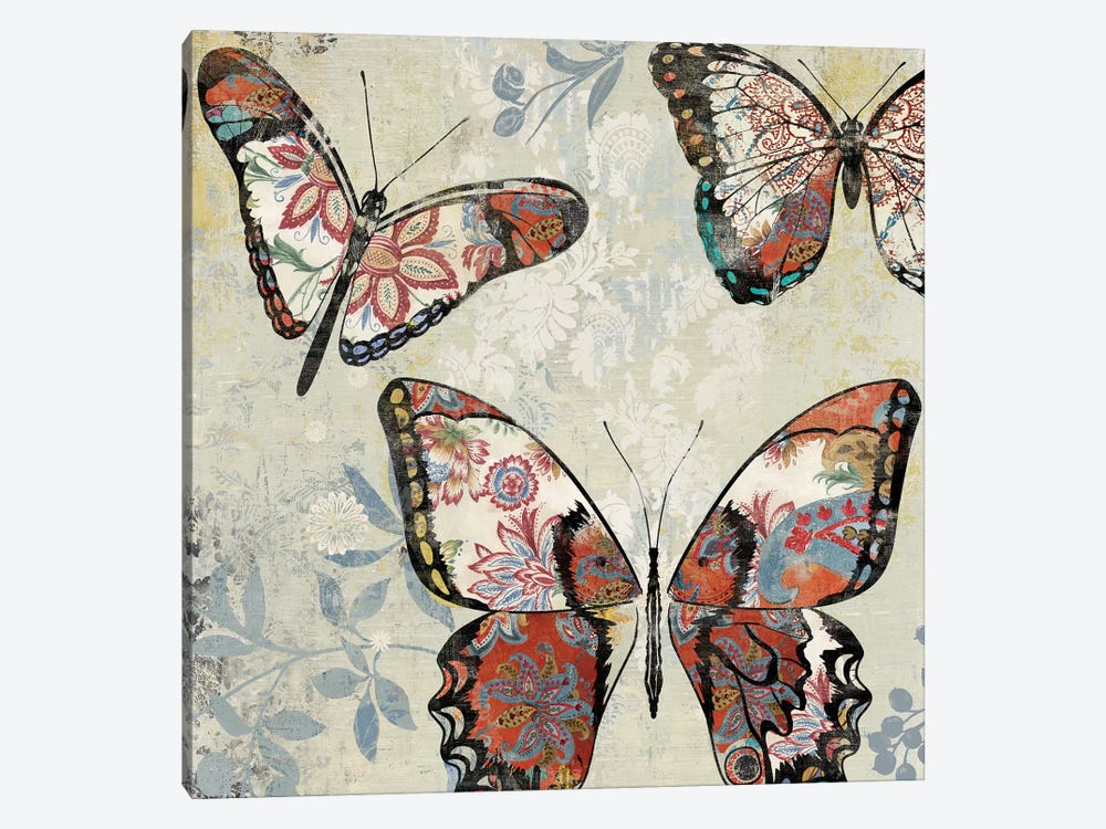Patterned Butterflies I by Asia Jensen 1-piece Canvas Print