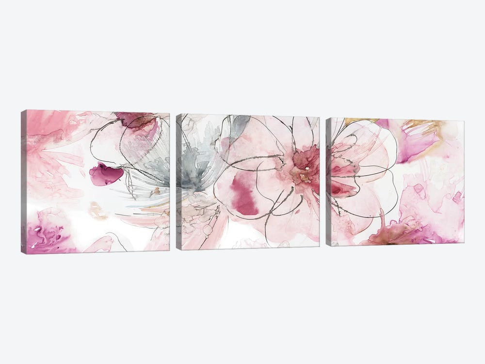 Pretty In Pink III by Asia Jensen 3-piece Canvas Print