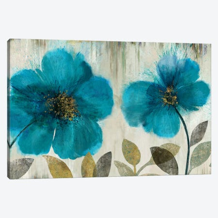 Teal Flowers Canvas Print #ASJ289} by Asia Jensen Canvas Artwork
