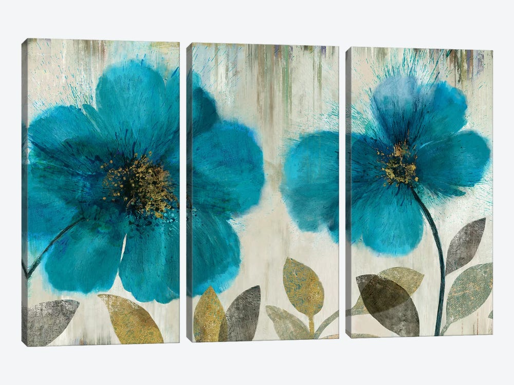 Teal Flowers by Asia Jensen 3-piece Canvas Art Print