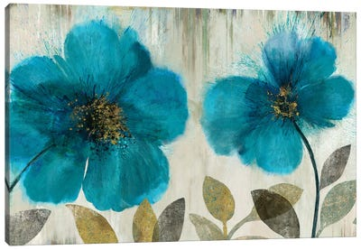 Teal Flowers Canvas Art Print