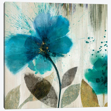 Teal Splash II Canvas Print #ASJ291} by Asia Jensen Art Print