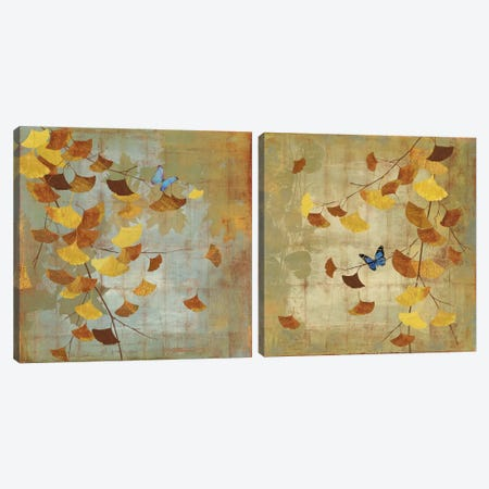 Ginkgo Branch Diptych Canvas Print Set #ASJ2HSET002} by Asia Jensen Canvas Art