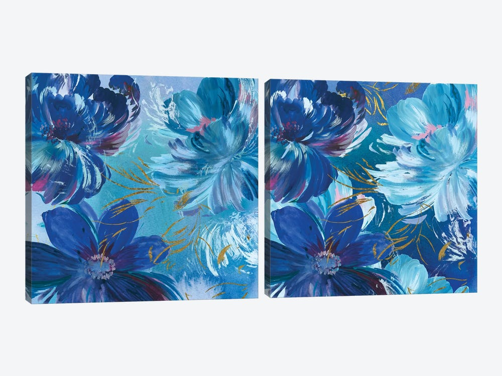 Midnight Floral Diptych by Asia Jensen 2-piece Canvas Wall Art