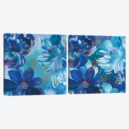 Midnight Floral Diptych Canvas Print Set #ASJ2HSET007} by Asia Jensen Art Print