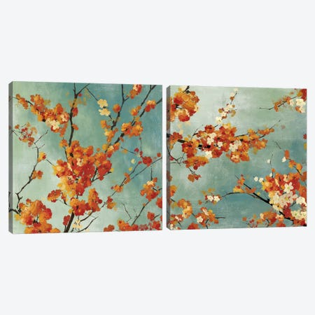Orange Blossoms Diptych Canvas Print Set #ASJ2HSET010} by Asia Jensen Art Print