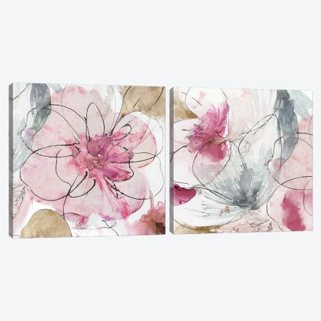 Pretty In Pink Diptych Canvas Print Set #ASJ2HSET011} by Asia Jensen Canvas Art Print