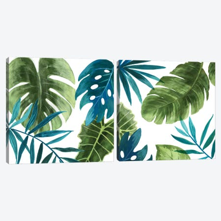 Tropical Leaves Diptych Canvas Print Set #ASJ2HSET015} by Asia Jensen Canvas Art