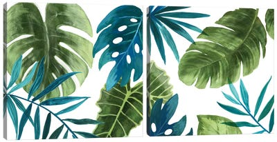 Tropical Leaves Diptych Canvas Art Print