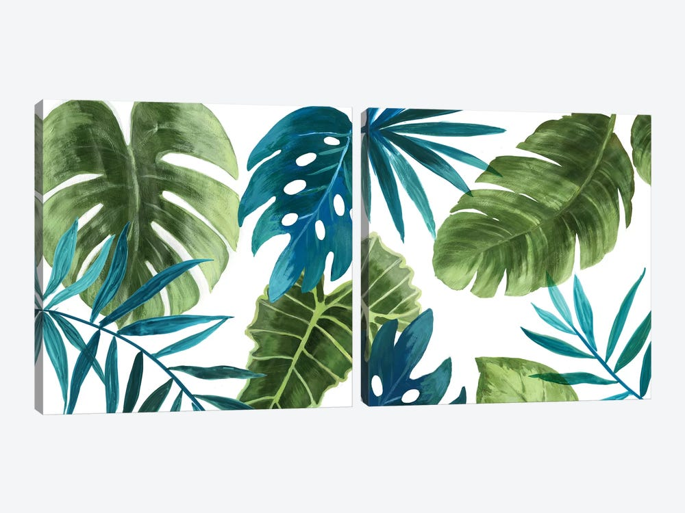 Tropical Leaves Diptych by Asia Jensen 2-piece Canvas Art Print