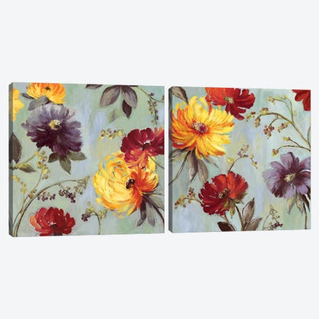 Field Flowers Diptych Canvas Print Set #ASJ2HSET022} by Asia Jensen Canvas Wall Art