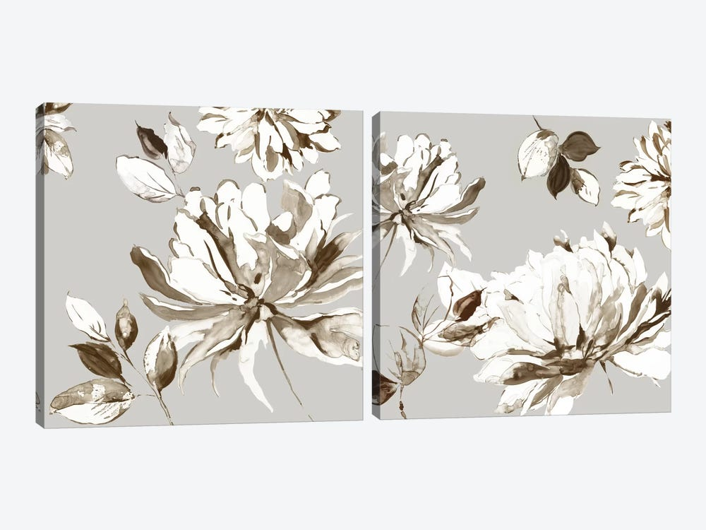 Botanical Gray Diptych by Asia Jensen 2-piece Canvas Print