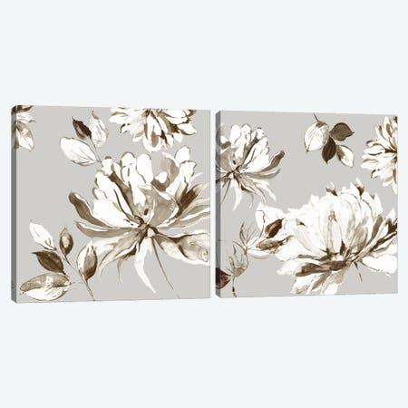 Botanical Gray Diptych Canvas Print Set #ASJ2HSET024} by Asia Jensen Canvas Print