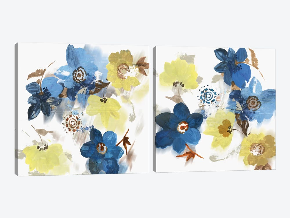 Glitchy Floral Diptych by Asia Jensen 2-piece Canvas Wall Art
