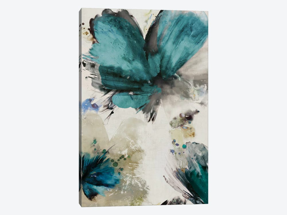 Blue Ribbon Blooms I by Asia Jensen 1-piece Canvas Wall Art