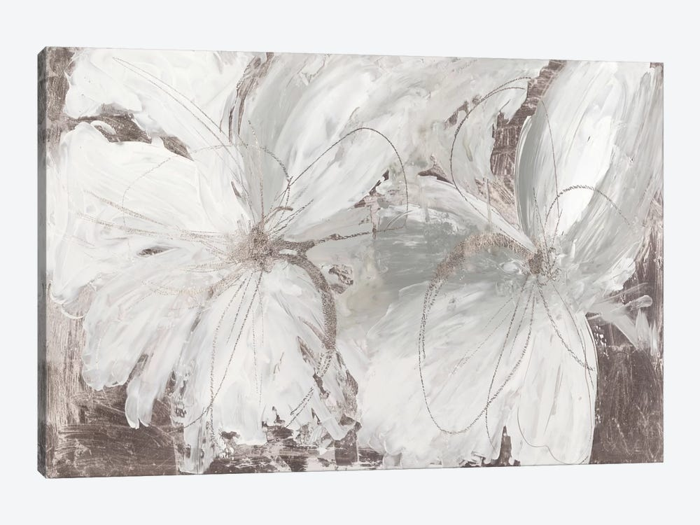 Silver Floral by Asia Jensen 1-piece Canvas Print