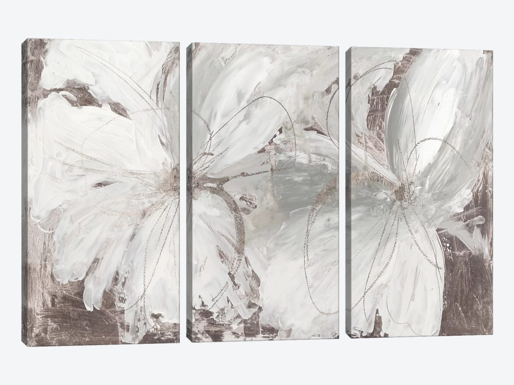 Silver Floral 3-piece Canvas Art Print