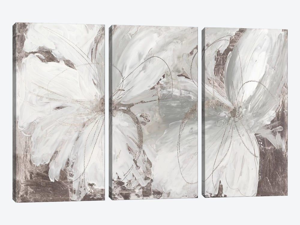 Silver Floral by Asia Jensen 3-piece Canvas Art Print