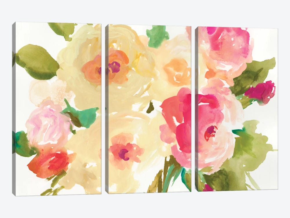 Yellow Roses by Asia Jensen 3-piece Canvas Artwork