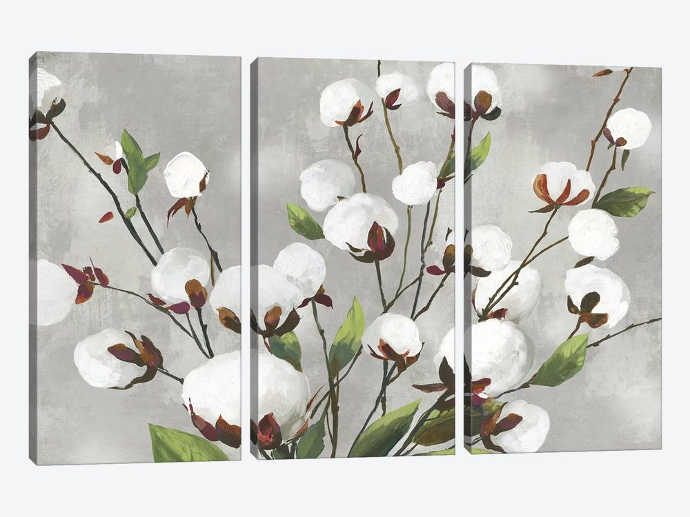 Cotton Ball Flowers I  by Asia Jensen 3-piece Art Print