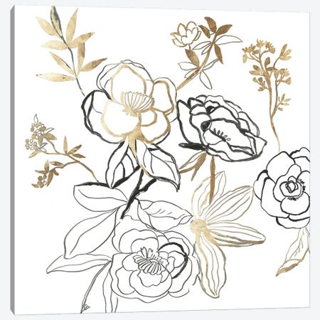 Black and Gold Florals  3-Piece Canvas #ASJ425} by Asia Jensen Canvas Art Print