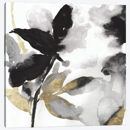 Black Petals Gold Leaves I Canvas Print #ASJ481} by Asia Jensen Canvas Art