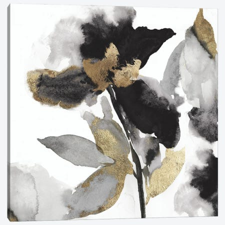 Black Petals Gold Leaves II Canvas Print #ASJ482} by Asia Jensen Canvas Wall Art