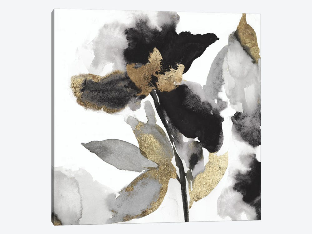 Black Petals Gold Leaves II by Asia Jensen 1-piece Canvas Wall Art
