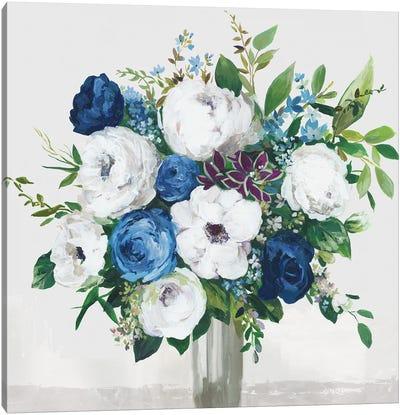 White-Blue Symphony Canvas Art Print
