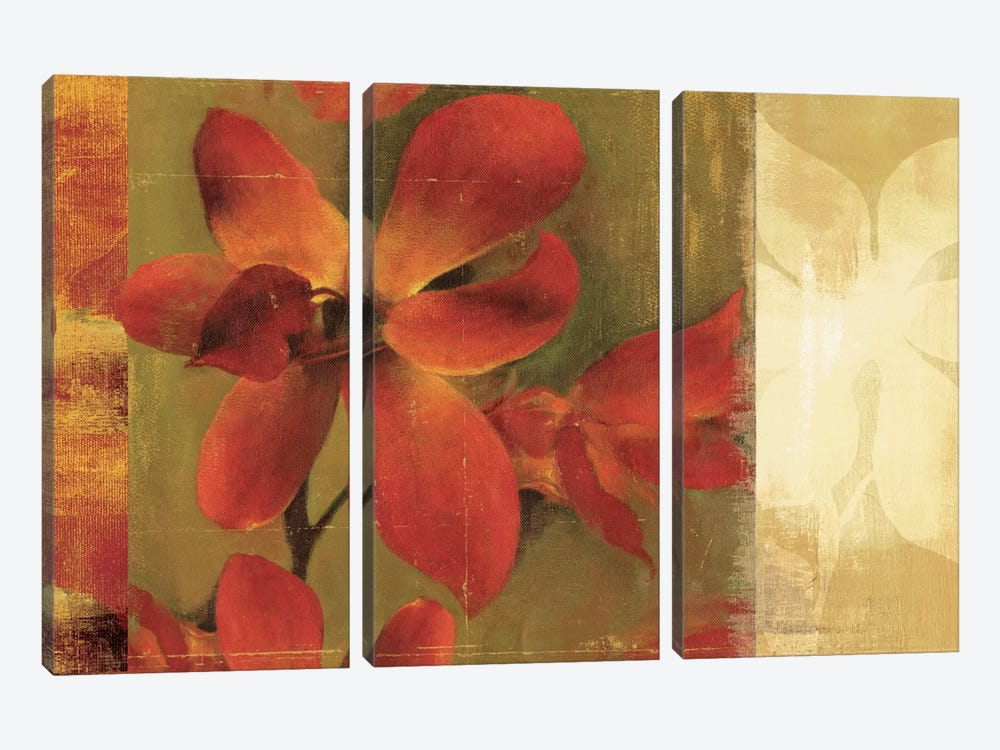 Crimson Garden by Asia Jensen 3-piece Canvas Art Print