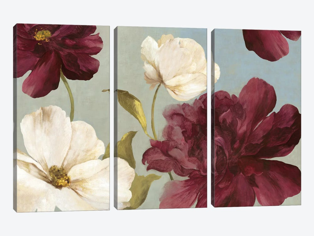Deep Peonies II by Asia Jensen 3-piece Canvas Art