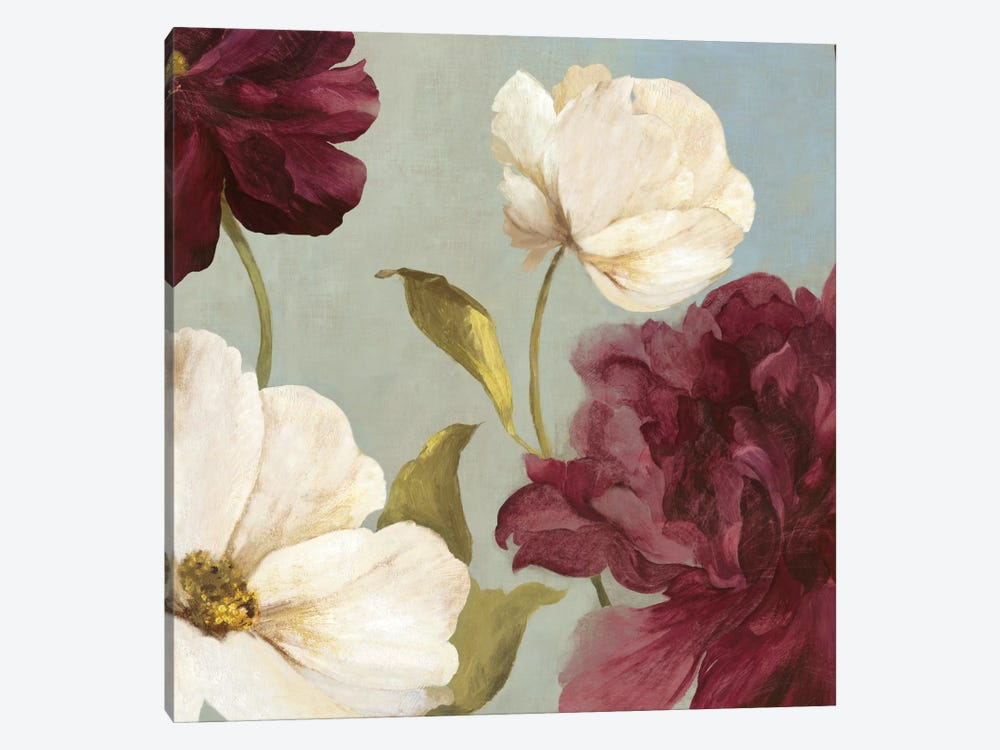 Deep Peonies II, Square by Asia Jensen 1-piece Canvas Art Print