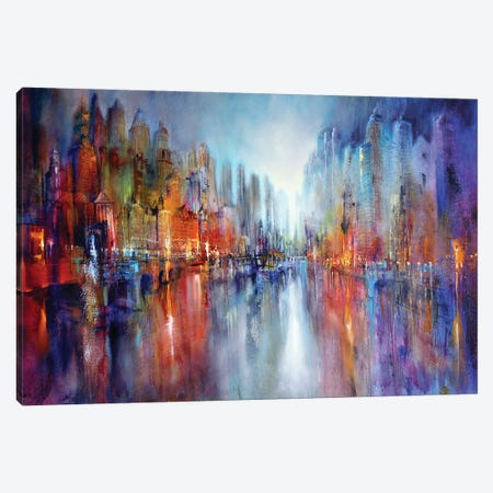 City On The River II Canvas Print #ASK25} by Annette Schmucker Canvas Artwork