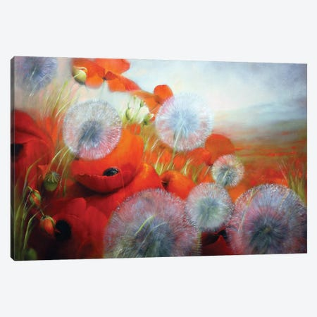 Poppies And Dandelions Canvas Print #ASK61} by Annette Schmucker Art Print