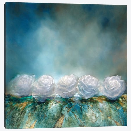 Snow Roses Canvas Print #ASK68} by Annette Schmucker Canvas Art Print