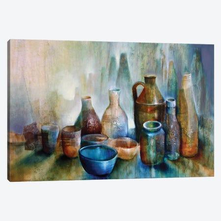 Still Life With Blue Bowl 3-Piece Canvas #ASK71} by Annette Schmucker Canvas Art