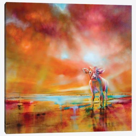 The Colorful Cow Canvas Print #ASK96} by Annette Schmucker Art Print