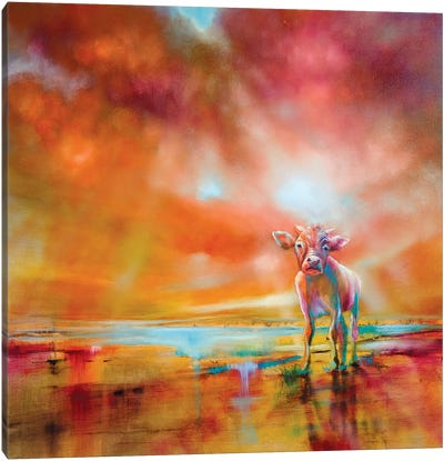 The Colorful Cow Canvas Art Print