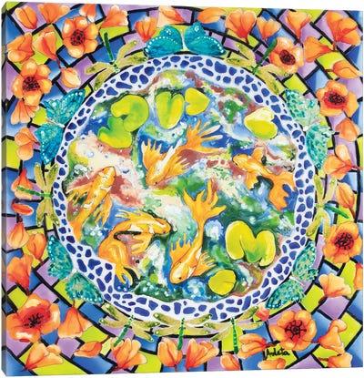 Koi And Poppies Canvas Art Print