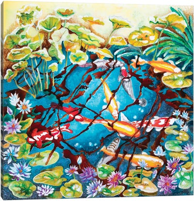 Koi In The Pond Canvas Art Print