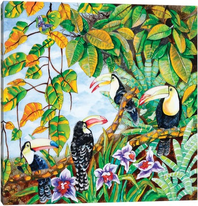 Toucans In The Forest Canvas Art Print