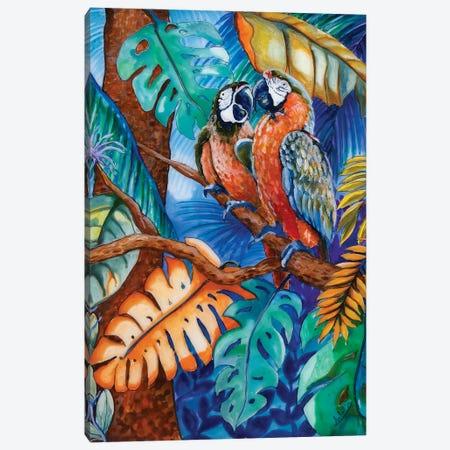 Two Parrots Canvas Print #ASL31} by Arleta Smolko Canvas Art Print