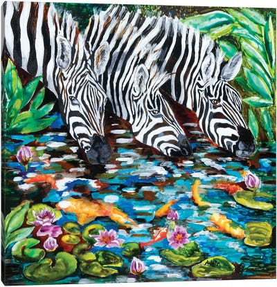 Zebra By The Pond Canvas Art Print