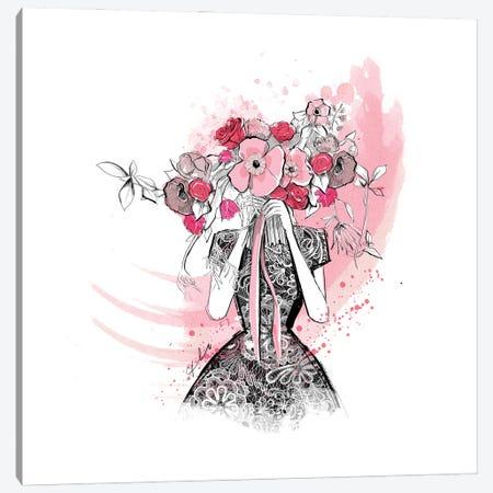 Flirting In Floral Canvas Print #ASN39} by Alison Petrie Canvas Art Print