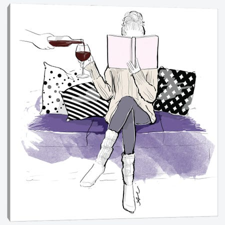 Wine And Books Canvas Print #ASN52} by Alison Petrie Canvas Art Print