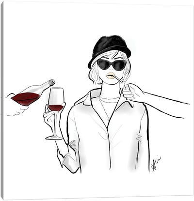 Cigs And Wine Canvas Art Print