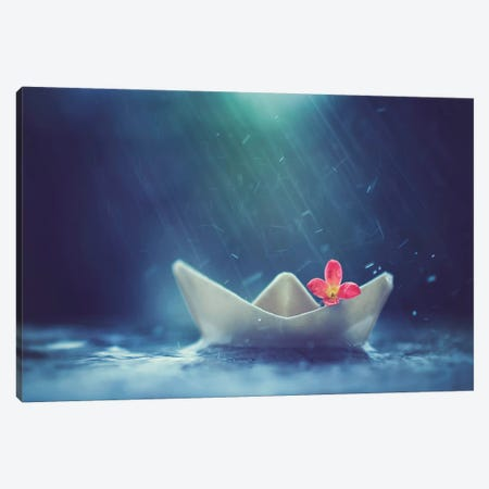 Little Boat And Summer Rain Canvas Print #ASR15} by Ashraful Arefin Canvas Wall Art